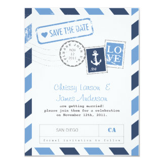 Nautical Airmail Card Save the Date