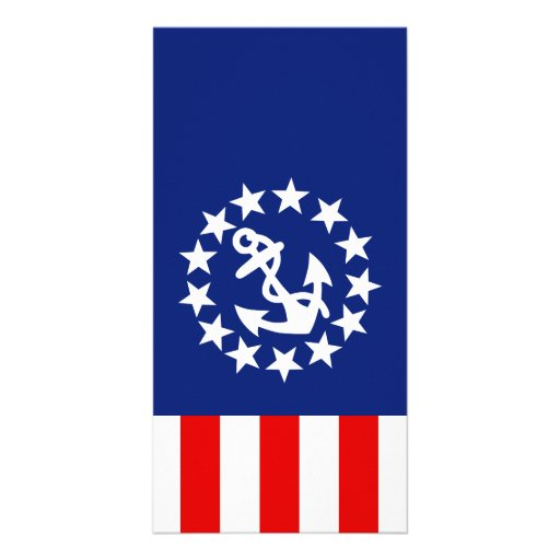 Nautical American Yacht Flag is at the Marina Customized Photo Card