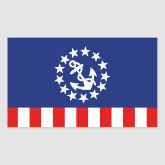 Nautical American Yacht Flag is at the Marina Rectangular Sticker