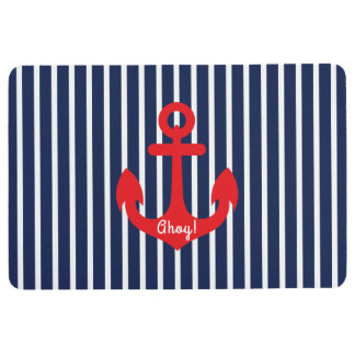 Nautical Anchor and Blue Stripes Floor Mat