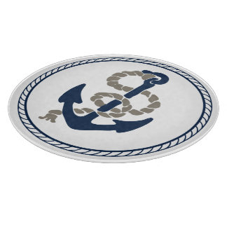 Nautical Anchor And Rope In Blue And White Cutting Board