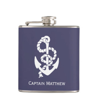 Nautical Anchor And Rope In Blue And White Hip Flask