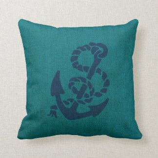 Nautical Anchor and Rope Ocean Green Blue Throw Pillow