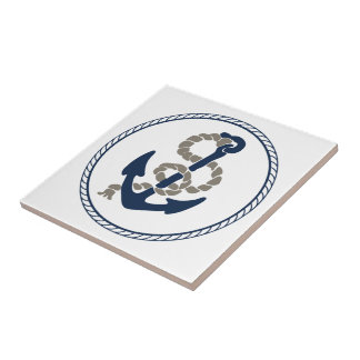 Nautical Anchor And Rope Sailing Themed Tile