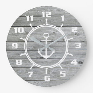 Nautical Anchor and Ship wheel On Old Wood Pattern Clock