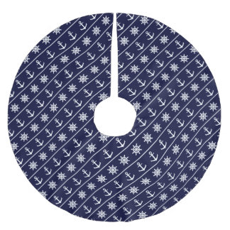 Nautical anchor and ship's wheel custom background brushed polyester tree skirt