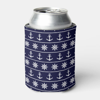 Nautical anchor and ship's wheel custom background can cooler