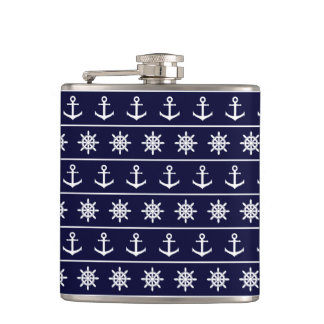 Nautical anchor and ship's wheel custom background flasks