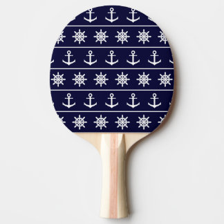 Nautical anchor and ship's wheel custom background ping pong paddle