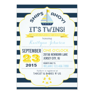Nautical Anchor and Stripe Baby Shower Invitation