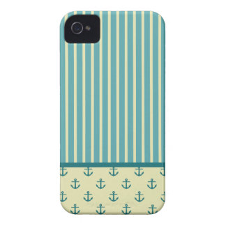 Nautical Anchor and Stripe Pattern iPhone 4 Case-Mate Case