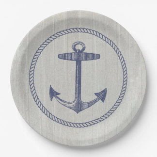 Nautical Anchor and Weathered Wood Paper Plate