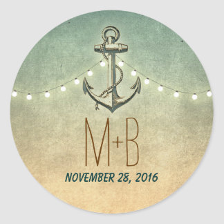 nautical anchor and wedding lights round sticker