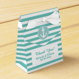 Nautical anchor aqua blue stripe wedding favor box wedding favour box