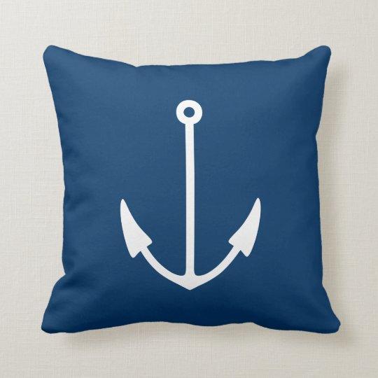 Nautical anchor aweigh pillow cushion | Navy Blue