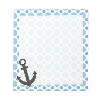 Nautical Anchor; Baby Blue Polka Dots Notepad