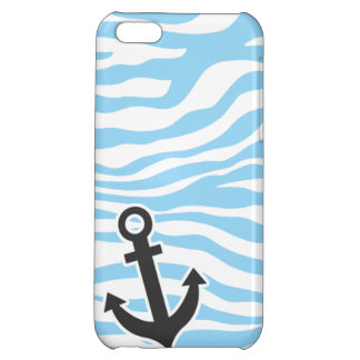 Nautical Anchor; Baby Blue Zebra Animal Print Cover For iPhone 5C