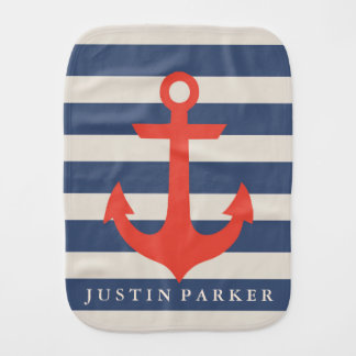 Nautical Anchor Baby Burp Cloth