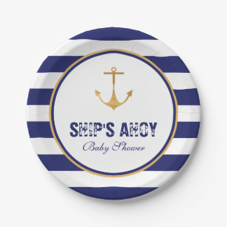 Nautical Anchor Baby Shower 7 Inch Paper Plate