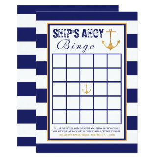 Nautical Anchor Baby Shower Bingo Card