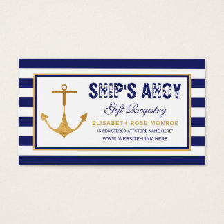 Nautical Anchor Baby Shower Gift Registry Business Card