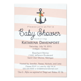 Nautical Anchor Baby Shower Invitation - Boy, Girl