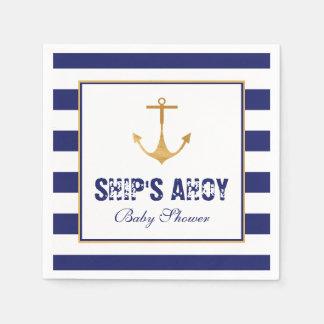 Nautical Anchor Baby Shower Paper Serviettes