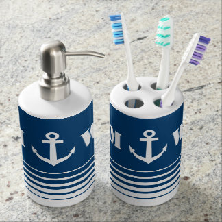 Nautical anchor bathroom set with custom monogram