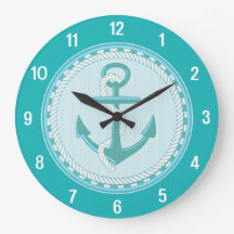 Nautical Anchor Beach Teal Aqua Wall Clock