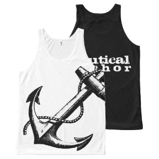 Nautical Anchor Black and White All-Over Print Tank Top