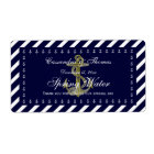 Nautical Anchor Blu Wht Diag Stripe H Water Bottle