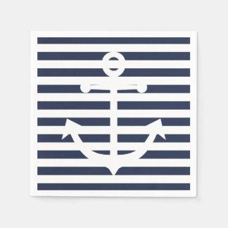 Nautical Anchor Blue And White Stripes Wedding Disposable Napkin