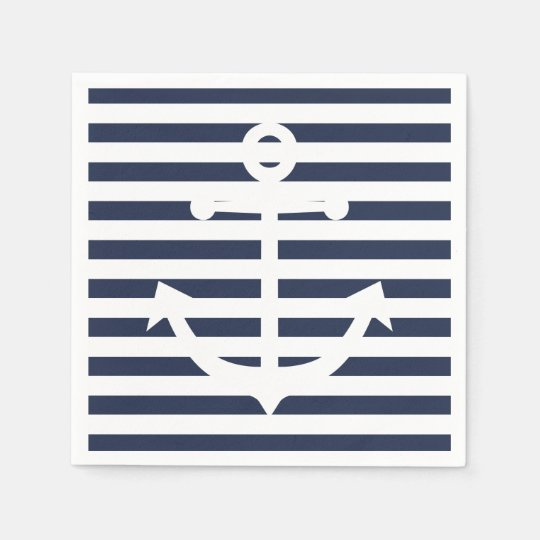 Nautical Anchor Blue And White Stripes Wedding Disposable