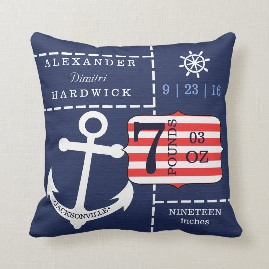 Nautical Anchor Blue Birth Stats Keepsake Cushion