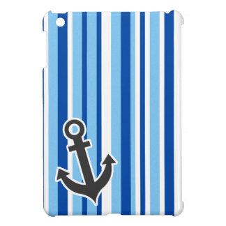 Nautical Anchor; Blue & White Stripes Cover For The iPad Mini