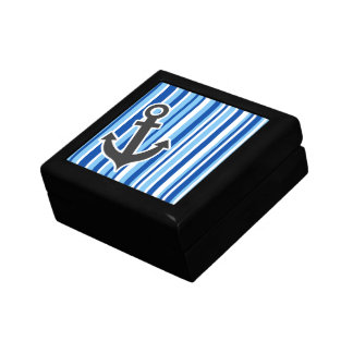 Nautical Anchor; Blue & White Stripes Gift Box