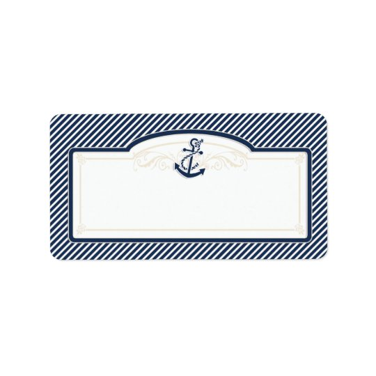 Nautical Anchor Boat Diagonal Stripes Swirl Modern Address Label