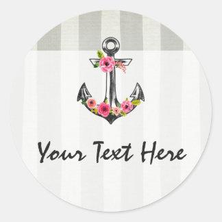 Nautical Anchor Bohemian Floral Beach Chic Style Round Sticker