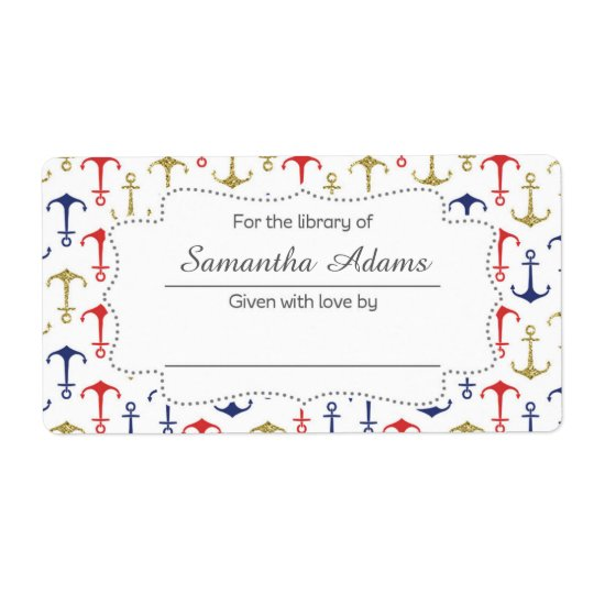 Nautical Anchor Bookplate Label Sticker Shipping Label
