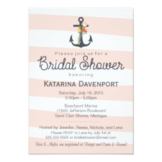 Nautical Anchor Bridal Shower Invitation Pink