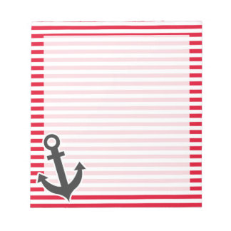 Nautical Anchor; Cadmium Red Stripes; Striped Notepad