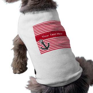 Nautical Anchor; Cadmium Red Stripes; Striped Sleeveless Dog Shirt