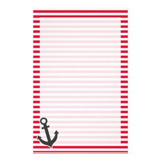 Nautical Anchor; Cadmium Red Stripes; Striped Stationery