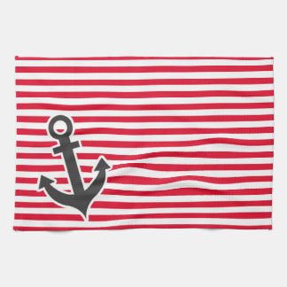 Nautical Anchor; Cadmium Red Stripes; Striped Tea Towel
