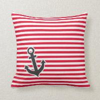 Nautical Anchor Striped Cushion