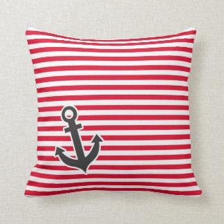 Nautical Anchor; Cadmium Red Stripes; Striped Throw Pillow
