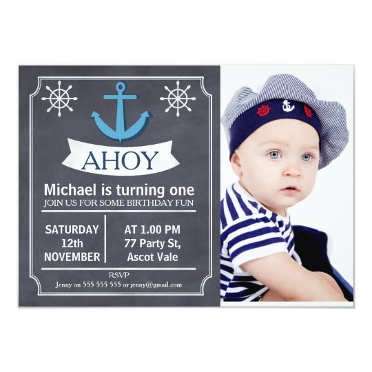 Nautical Anchor Chalkboard Birthday Invitation