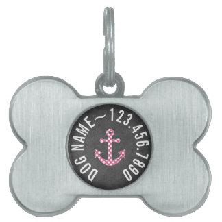 Nautical Anchor Chalkboard Hot Pink Polka Dots Pet ID Tag