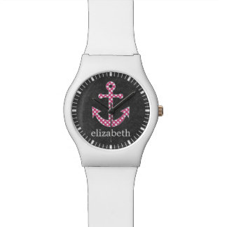 Nautical Anchor Chalkboard Hot Pink Polka Dots Watch