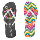 Nautical Anchor Chalkboard with Bright Chevrons Flip Flops